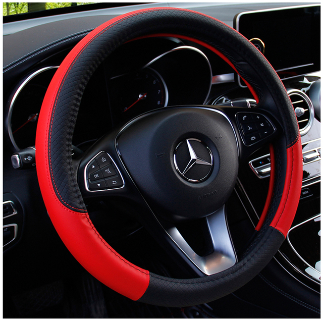 KKYSYELVA Black Car Sport Steering Wheel Cover Leather Auto Steering Covers Universal 38CM wheel covers Car Inter Accessories