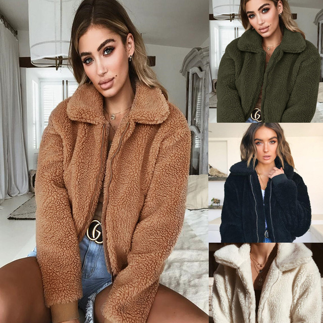Warm Woolen Coat Women 2018 Fall Winter Fashion Zipper Fleece Jacket Streetwear Teddy Bear Coats Outwear