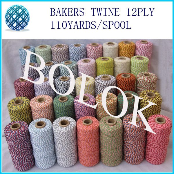 180pcs/lot  Cotton Baker twine 110yards/spool divine twine, DIY Twine 55 kinds color choose