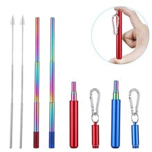 custom Stainless Steel Telescopic Drinking Straw Portable straw For Travel Reusable Collapsible Metal Drinking Straw With Brush