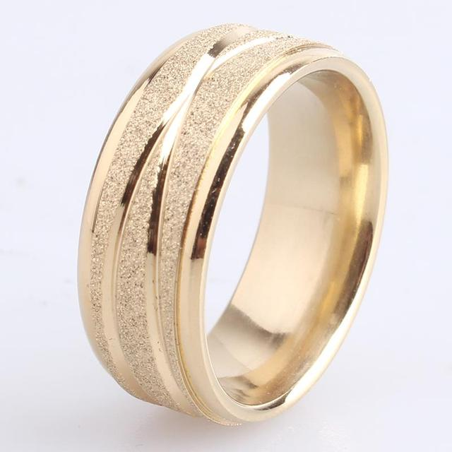 8mm gold silver Scrub across stripe 316L Stainless Steel finger rings for men wholesale