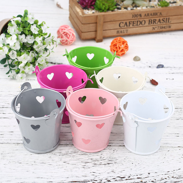 Hollow Candy Metal Iron Barrel Flower Pot Garden Plant Planter Flower Vase Holder Storage Holder Home Decoration Decor 6 colors