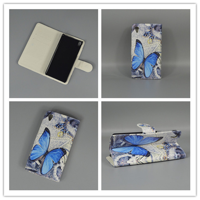 New Butterfly Flower Flag Designer Wallet Flip Stand Book Cover Case For Sony Xperia E5 Sony Xperia E5 F3313 F3311 freeshipping