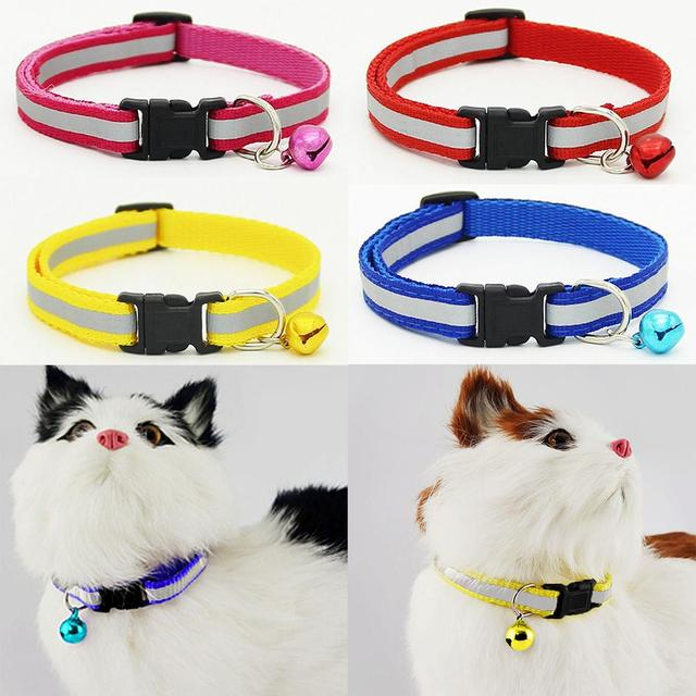 1pc Adjustable Pet Cat Dog Puppy Reflective Collars Safety Buckle Bell Neck Strap Dog Supplies Cat Collars Pet Products