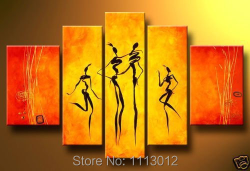 Hand Painted Red Abstract Home Wall Art Decor Landscape Dancers Oil Painting On Canvas 5pcs/set Modern Picture For Living Room