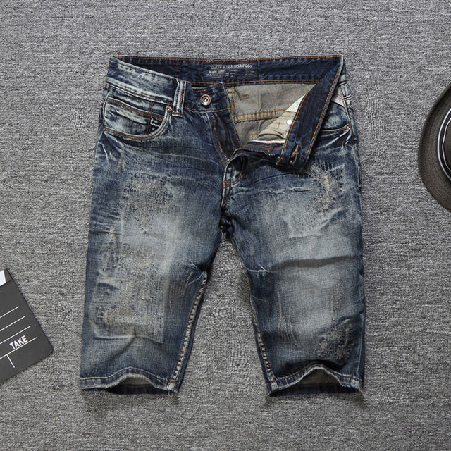 2019 Italian Style Fashion Men Jeans Shorts Slim Fit Short Ripped Jeans Summer Knee Length Denim Shorts Men,New Men Shorts Pants