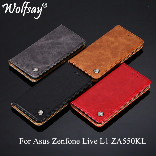 Wolfsay For Asus Zenfone Live L1 ZA550KL Case Triangle Pattern Flip Cover PU leather & Soft TPU Inside Cases for Asus ZA550KL