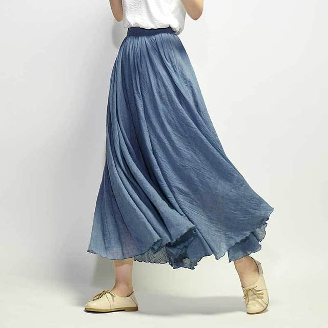 Mori Girl Summer Cotton Linen Skirt Long High Waist Plus Size Elastic A Line Female Skirts Pleated Solid Ethnic Vintage Sweet