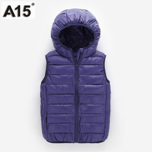 A15 Kids Vest Children Girls Vest Hooded Jacket Winter Spring Waistcoats for Boy Baby Outerwear Coats Big Teens 4 5 8 10 12 Year