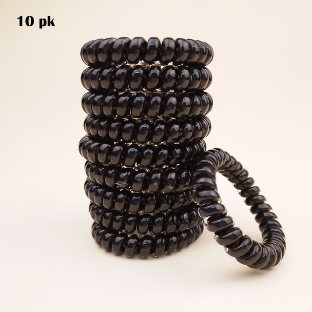 10-PK All Black Good Quality Spiral Hair Tie Tony Tail Elastic Ties Women & Girl Hair Accessories Daily Used Hair Ring