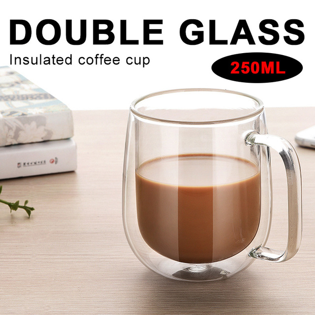 Tea Cup Glass Cup Double Wall Creative Coffee Mugs Coffee Pots Beer Container Dining Clear Insulated Thermal Milk