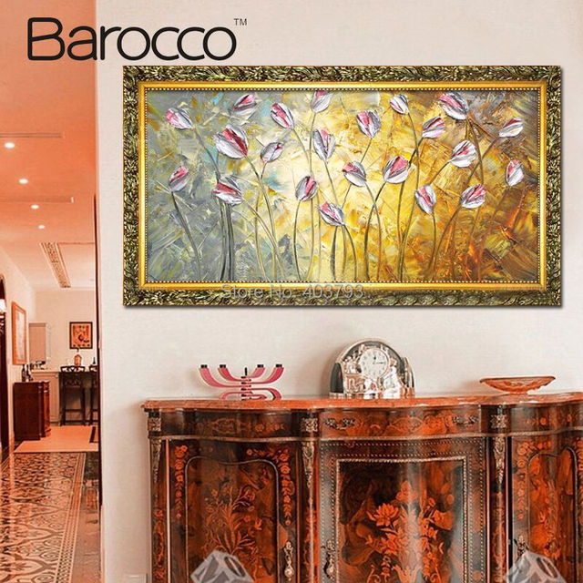 100% Hand Painted Abstract Oil Painting On Canvas Modern Canvas Painting Wall Art Pink Flower Picture Painting For Living Room