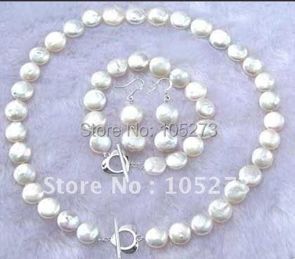New 11-13mm Coin white color freshwater pearl necklace bracelet earring jewelry set fashion  woman's jewelry free shipping NF04