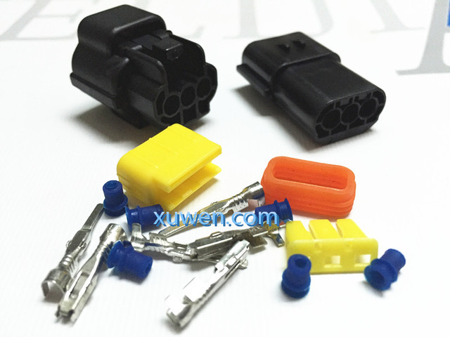 10 set 3 Pin Way Waterproof Wire Connector Plug Car Auto Sealed Electrical Set Car Truck denso connectors