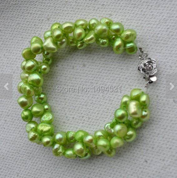 Wholesale Pearl Jewelry, 7 inches Peak Green Genuine Freshwater Pearl Bracelet,6-7mm Twisted, Wedding Bridesmaids Gift Bracelet