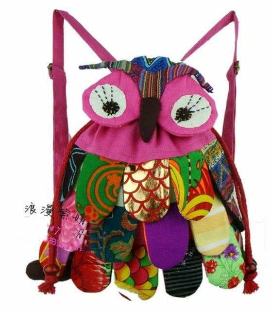 OWl style colorful bag owl children's bag 10 colors optional Size: 30*25cm Cute Backpack 10PCS/LOT ER