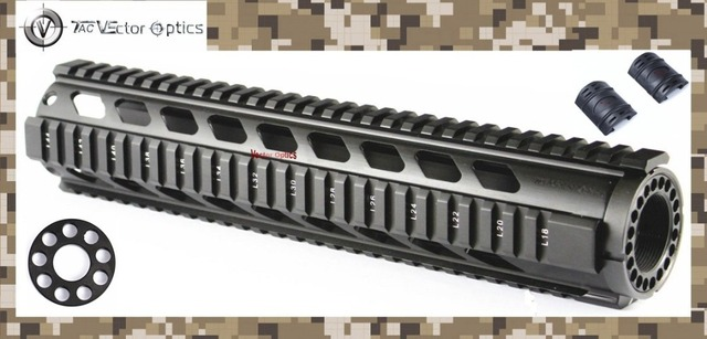 Vector Optics Forearm Free Floating 12'' Handguard Quad Picatinny Rails Mount System  Rubber Covers