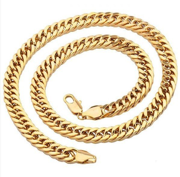 MxGxFam (600*10mm)Yellow Gold Color High Quality Heavy Thick Chain Necklace Men european style