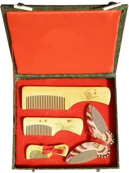 2020 New!guaranteed 100% Chinese Characteristics Gift Boxwood Comb Butterfly Group High Grade Wedding Or Business Gift-ac188-1
