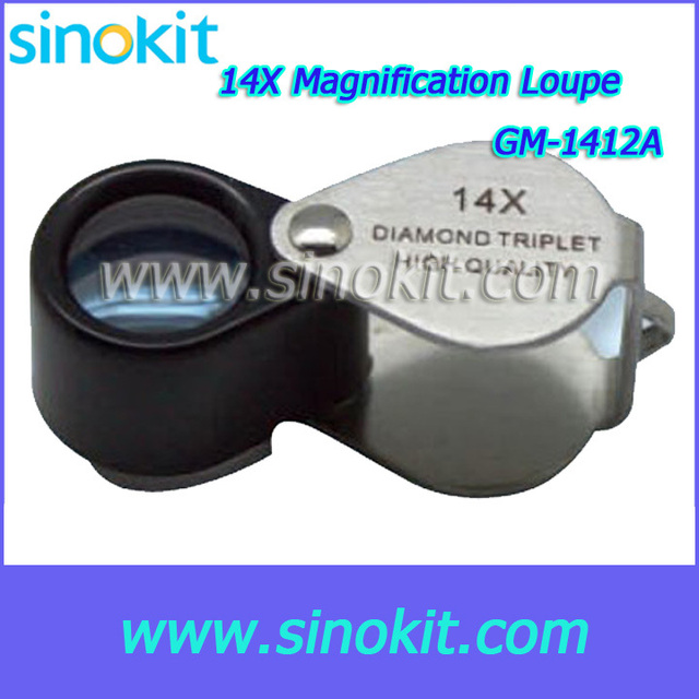 Free Shipping Wholesales Portable 14X Gemological Magnification Loupe - GM-1412A