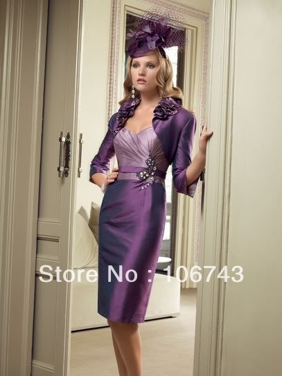 dresses free shipping customized 016 Formal Occasion Dress purple vestidos formales short Mother of the Birde Dress with jacket