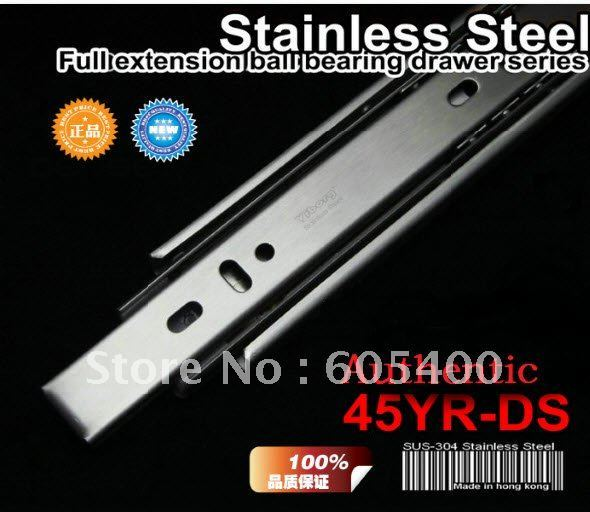 """Top quality products 16"""" ( 40CM ) ball drawer ball bearing slide rail section three 45YR-DS4 stainless steel + FREE SHIPPING"""