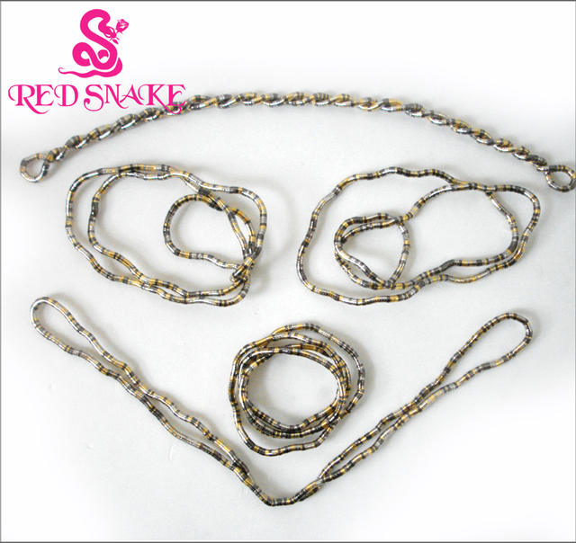 RED SNAKE 5pcs Bendy Fashion Flexible Gold+Silver color+Black plated Mixedcolor Snake Necklace 90cm*5mm Larger Manufactory Price