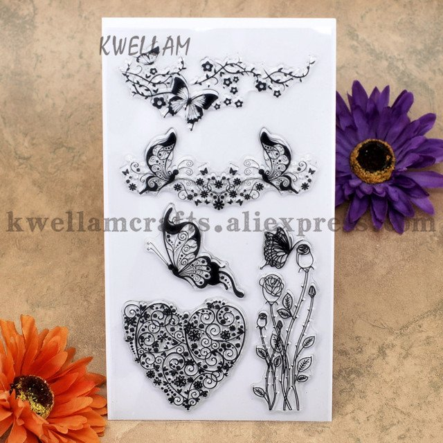 Heart Rose Butterfly Scrapbook DIY photo cards account rubber stamp clear stamp transparent stamp 10x20cm KW7030128
