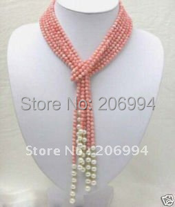 new arrive design pink coral White Freshwater pearl necklace lowest fashion jewelry gift free shipping #2