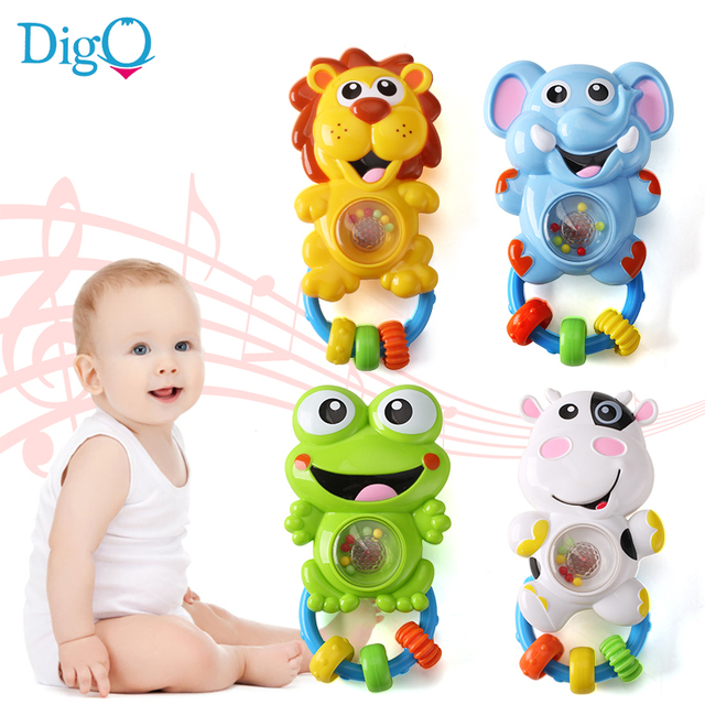 Baby Rattle Toys with Beads Flashing and Musical Cartoon Animal Hand Rattle Plastic Bell Rattle Toys for Baby 0-12 Months D56