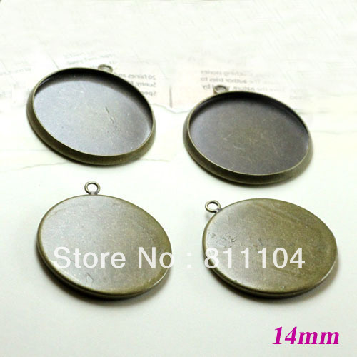 14mm Antique Bronze Plt Copper Circle Tray Bases Bezel Cup Blank Pendant with Loop Charm Settings DIY Cabochons Bulk Wholesale