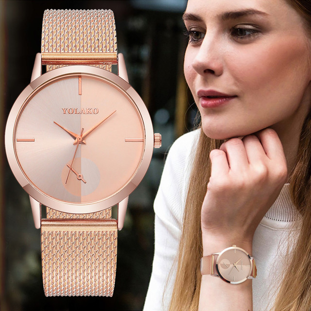 YOLAKO Women's Casual Quartz Leather Band New Strap Watch Analog Wrist Watch luxury fashion stainless steel watches  A40