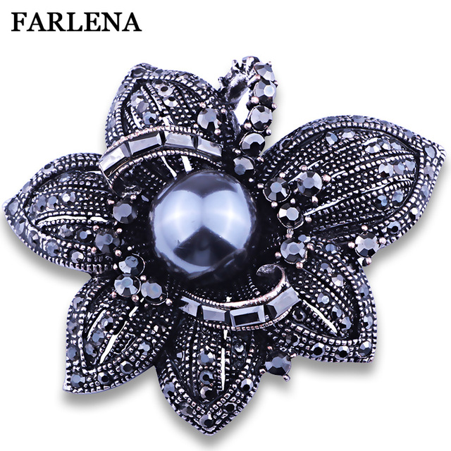 Imitation Pearl Jewelry Black Gun Plated Flower Crystal Brooches for Women Scarf Dress Accessory Vintage Rhinestones Brooch pins