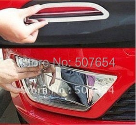 Higher star ABS chrome 2pcs car Front Fog Lamp decoration Cover+2pcs Rear Fog light decoration cover For KIA K2 2011-2014