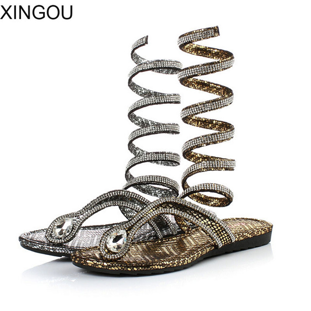 Retail european pu women's sandals gold snake wound   bandage summer slippers with rhinestone Rome style fashion sandals women