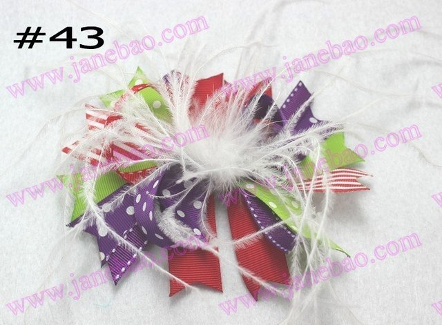 free shipping 500pcs boutique girl hair bows feather bows funky hair bows Valentine's Day bows