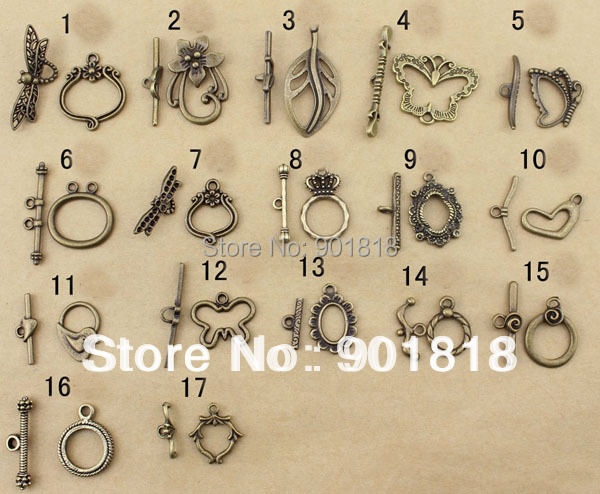 20set/lot Wholesale Antique Bronze Round/Flower Toggle Clasps Chain End Connectors for DIY Bracelets Jewelry Findings Hooks F758