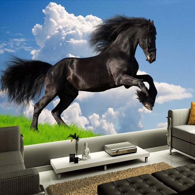 Custom 3D Nature Scenery Blue Sky White Clouds Black Horse Mural Wallpaper Living Room Sofa TV Background Wall Papers Home Decor