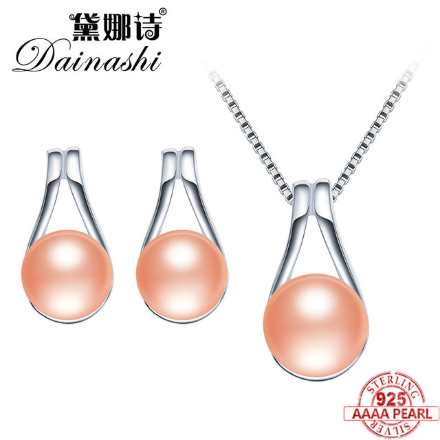 Dainashi High Quality Pearl Jewelry Set Water Drop Pendant & Necklace Earrings Real Natural Pearl Jewelry For Women Trendy Gifts