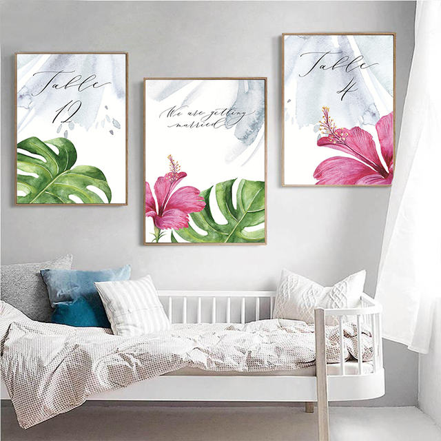 Scandinavian Art Watercolor Plants Leaf Canvas Poster Nordic Style Wall Art Painting Decorative Pictures Minimalist Home Decor