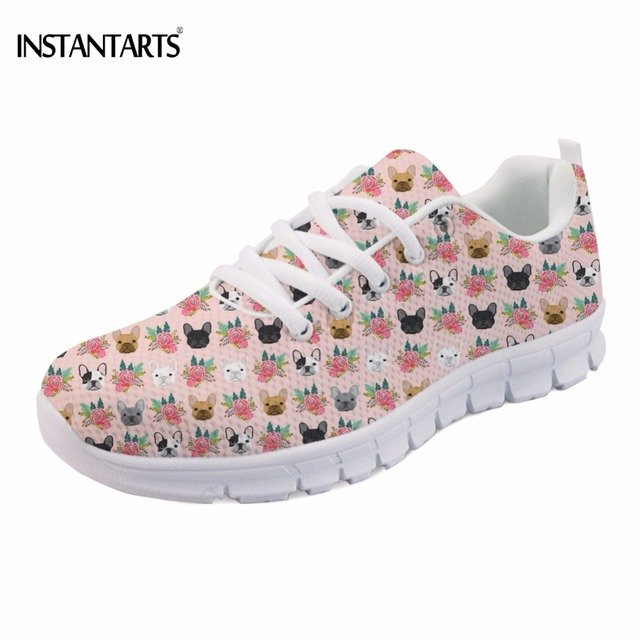 INSTANTARTS Funny French Bulldog Printing Girls Flats Shoes Casual Breathable Women Lace-up Sneakers Fashion Women's Spring Flat