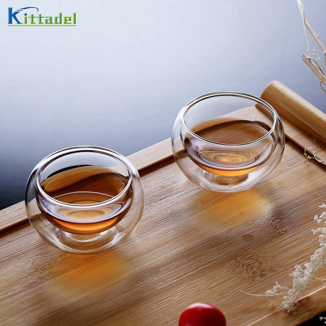 1Pc 50 ml Elegant Handy Glass Tea Cup Drinking Cup Heat Resistant Double Wall Layer Tea Cup Water Cup For flower