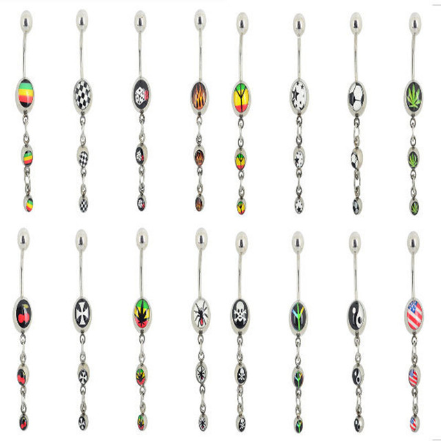 48Pcs/lot 316L Stainless Steel Belly Button Rings Belly Piercings Ball Dangle Navel Bar Belly Ring Body Piercing Jewelry Lot