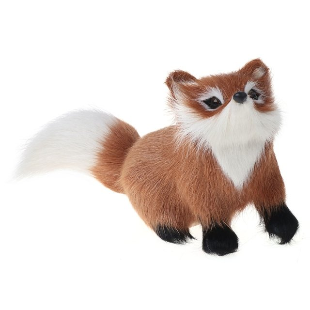 1 PC Genuine Leather Fox Toy Furs Fox Model Simulation Brown Fox Toy Home Decoration Gift