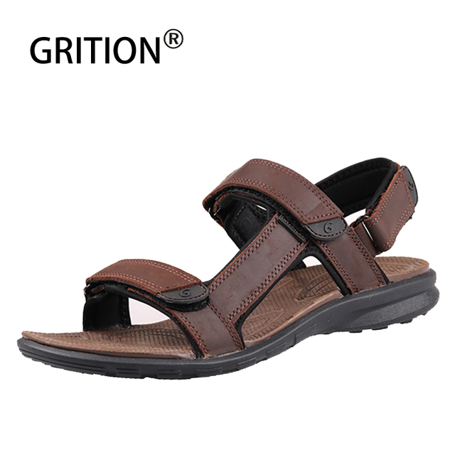 GRITION Men Sandals Genuine Leather Summer Outdoor Casual Shoes Slippers Walking Beach Flat Platform Sandals Sport Large Size 46