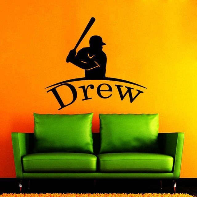 Name Baseball Sticker Car Decal Sports Posters Home Decoration Vinyl Wall Decals Decor Mural Baseball Wall Decal