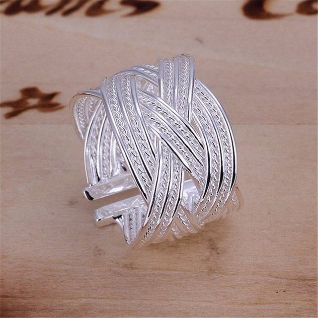 R24 Christmas gift free shipping wholesale Fashion  hot new weave silver color ring high quality fashion classic girl Jewelry