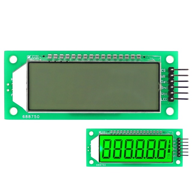 LCD Display Module Green Backlight 2.4 inch 6-Digit 7 Segment HT1621 LCD Driver IC with Decimal Point for Arduino
