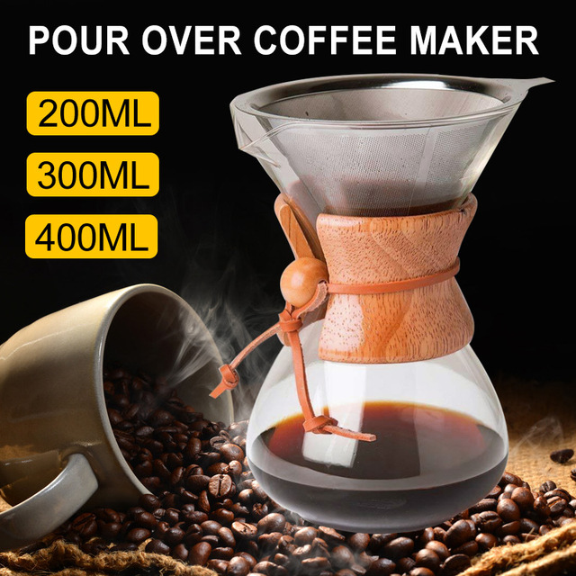 400ml Coffee Maker with Filter Manual Drip Container Professional Tea Pot Pour-Over Bar Coffee Kettle Durable Drinkware