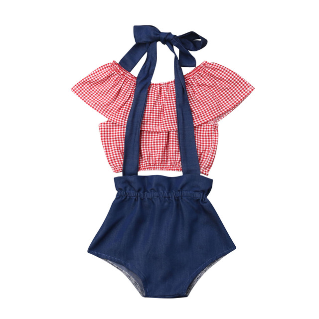 Toddler Girl Clothes 2PCS Newborn Baby Girls Plaid Tops Crop Denim Shorts Overalls Outfits Sunsuit